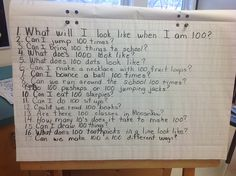 I came across this blog and thought that it was actually a really cool idea to get the students involved with actual activities that relates to the number 100, not just a 100th day party. Pictured is a list that students came up with in class and they were to try to come up with answers during class through actual activities. I think this is great. It not only allows students to get excited about the 100th day of school but it also creates unique involvement in the classroom. -Dani Khoury