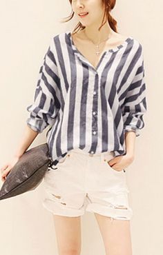 Weekend Casual! LOVE it! Comfy Blue and White Vertical Stripes Print V-neck Long Sleeve Blouse #Navy_and_White #Summer #Weekend #Beach #Fashion