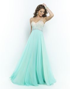 Blush Prom Dresses and Evening Gowns Blush 2015 - Stunning one shoulder embellished with an ombre of beads and crystals. Larger crystals trim the waist and back treatment while the A-line chiffon skirt fabulously falls into a floor length hem. Pretty Dresses, Beautiful Dresses, Homecoming Dresses, Bridesmaid Dresses, Teal Prom Dresses, Pastel Dresses, Dessy Bridesmaid, Dresses 2016, Blush Prom Dress