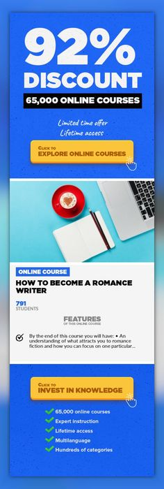 How to Become a Romance Writer Communications, Business #onlinecourses #onlinelessonsactivities #CoursesDIYLearn what makes romance fiction the most popular genre in the world with the help of an award winning romance author. Have you ever read a totally enthralling romance novel and been so carried away with the characters and their love story that when you turned the last page you asked yourse...