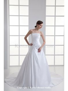Satin Strapless A-line Sweep Train Embroidered Wedding Dress