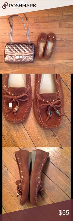 NWOB Michael Kors Brown Sutton Suede Moccasin This classic pair is constructed from supple suede.  NWOB- store stickers are attached -Sport Suede  -Sole: Rubber  -Round Toe  -Slip On Michael Kors Shoes Moccasins