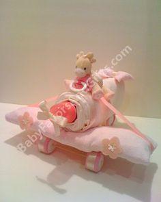 Pink Plane Diaper Cake - BabyFavorsAndGifts.com #BabyShower #BabyGift #GiftIdeas