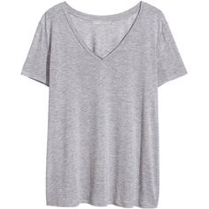 H&M+ V-neck T-shirt (49 RON) ❤ liked on Polyvore featuring tops, t-shirts, shirts, tees, plus size, light grey, plus size tops, v neck tee, womens plus size shirts and vneck shirts