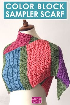 Learn how to make this Easy Color Block Scarf Knitting Pattern with Chart, perfect for experienced beginners who enjoy knit and purl textures. #StudioKnit