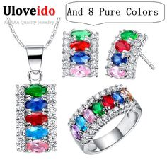 Find More Jewelry Sets Information about 2014 Sterling Silver Green/Purple/Red/Blue/Pink Crystal Jewelry Set Wedding Necklace Earrings Ring Sets Bijuterias Ulove T499,High Quality necklace clock,China necklaces for women white gold Suppliers, Cheap necklace 3d from ULOVE Fashion Jewelry on Aliexpress.com