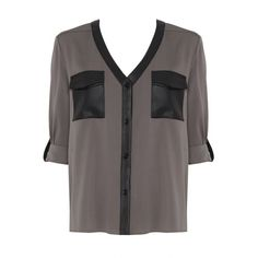 Alice + Olivia Alanna Button Down Top With Leather (515 AUD) ❤ liked on Polyvore featuring tops, blouses, shirts, blusas, dark grey, roll up sleeve shirt, button up shirts, button-down blouses, roll sleeve shirt and leather button down shirt