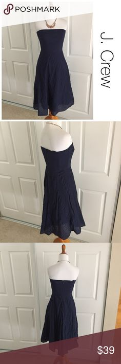 J. Crew Navy Strapless Dress 4 ♦️Excellent condition. No holes, stains or piling ♦️Materials-100% cotton  ♦️Measurements:                               ♦️Laying flat armpit to armpit: approximately 15 inches   ♦️Laying flat from the back of the neck to the bottom of the front hem is approximately 37 inches J. Crew Dresses Midi