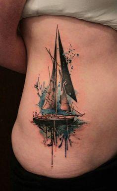 Gene Coffey sail Boat Tattoo - 40 Boat Tattoo Designs  <3 <3