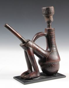 AFRICAN SMOKING PIPE - Makonde People, Tanzania and Mozambique, ANthropomorphic Tobacco Pipe in carved wood with clay bowl, incised decorati...