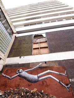"From the ""Falling Men"" series by Phlegm in Sheffield, England. Street Art Utopia, Street Art Banksy, Sheffield Art, Sheffield England, Art Nouveau, Graffiti Artwork, Young Art, Amazing Street Art, Political Art"