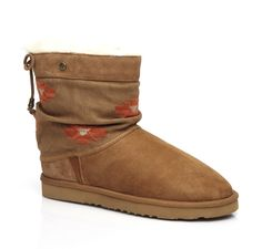 Koolaburra ALESTA II  Slip-On Shearling Boot With Nubuck Draw String And Embroidered Canvas Shaft #BOHO4EVER