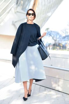 Lindy Klein is chic in a Toni Maticevski dress and a Céline bag.