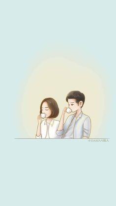 First Lieutenant Yoon MyungJu & Sergeant Major Seo DaeYoung coffee Cute Couple Cartoon, Cute Couple Art, Cute Love Cartoons, Anime Love Couple, Cute Anime Couples, Couple Wallpaper, Love Wallpaper, Descendants Of The Sun Wallpaper, Goblin Art