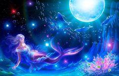 Mermaid under the moon