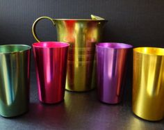 Vintage aluminum tumblers & pitcher cups glasses mid-century serving set multi-colored Italy