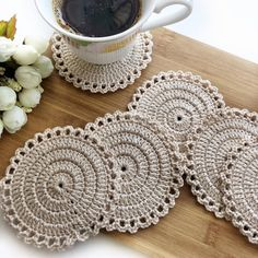 Items similar to Cotton Lace Doily, Round cup mat , Home Wedding Decor, Handmade Table Decoration, Crochet round coasters on Etsy Crochet Round, Crochet Home, Bead Crochet, Crochet Gifts, Crochet Motif, Crochet Stitches, Lace Doilies, Crochet Doilies, Crochet Flowers