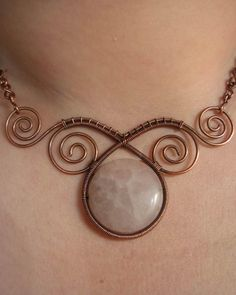 Elegant Necklace (Copper Wire and Rose Quartz)
