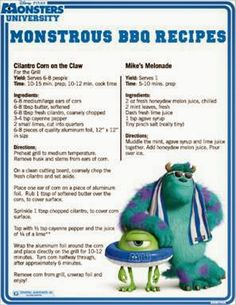 Happy of July from Thrifty Jinxy and Monsters University! You can add a little scary fun to your cookout today or any day with these BBQ recipes from Monsters University. The Cilantro Corn on Tofu Stir Fry, Disney Inspired Food, Disney Food, Disney Drinks, Walt Disney, Disney Mugs, Old Recipes, Vintage Recipes, Barbecue