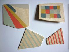 Nice colour palette Painted wooden shapes by Sarah Bridgland, via Flickr