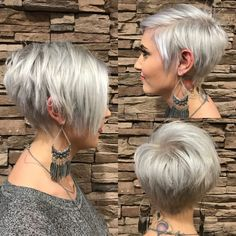 Long pixie with bangs, silver