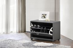 WholeSale Interiors Baxton Studio Petito Contemporary 1-Tier Grey Faux Leather Upholstered Shoe Cabinet