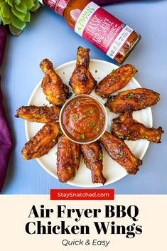 This Easy Air Fryer BBQ Chicken is made using wings, your favorite barbecue rub, and drizzled in BBQ sauce for the perfect grilled taste. You can make these using fresh or frozen chicken. #Ad #AirFryerBBQ #AirFryer #AirFryerChicken Bbq Chicken Wings, Air Fryer Chicken Wings, Chicken Wing Recipes, Air Fryer Dinner Recipes, Delicious Dinner Recipes, Appetizer Recipes, Air Frier Recipes, Air Fryer Healthy, Pressure Cooker Recipes