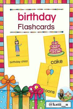 """Diese Flashcards handeln vom Thema """"birthday"""".  Dabei sind grundlegende Vokabeln enthalten, wie eben birthday oder auch cake oder present. Es sind aber auch schwierigere Begriffe dabei, wie z.B. congratulations.  So kann gut differenziert werden bzw. je nach Klassenstufe die passenden ausgewählt werden. Logos, Children, Birthday, Pictorial Maps, Learning English, First Grade, Young Children, Boys, Logo"""