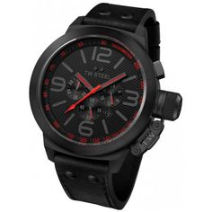 Make TW Steel Style TW903 Gender Men's Case Size 50mm (excluding crown), 14mm thick Case Material Stainless Steel Dial Color Black Strap Black Leather, 22mm at widest point Water Resistance 100M Clasp