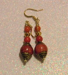 Tibetan Repousse Brass Red Jade Bead, Gold Beads and Candy Jade Drop Earrings Silver Chandelier, Chandelier Earrings, Jade Beads, Gold Beads, Ethnic Jewelry, Jewellery, Bronze Jewelry, Red Candy, Head Pins