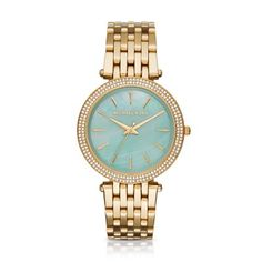 07c1d6d301d85 Michael Kors · Darci Gold-Tone 3 Hand Watch A green mother-of-pearl dial  trimmed