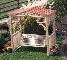 Amish Pine Outdoor Deluxe Victorian Swing Stand With Cedar Roof