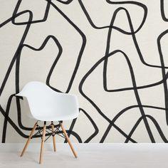 Black & Beige Cool Doodle Abstract Wallpaper Mural