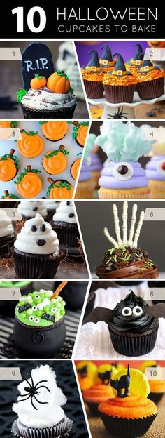 10 Halloween Cupcakes To Bake 10 Halloween cupcakes that you can make at home. Find the perfect dessert for your Halloween party with one of these easy projects or recipes. Halloween Desserts, Hallowen Food, Dulces Halloween, Bolo Halloween, Halloween Torte, Pasteles Halloween, Halloween Party Snacks, Halloween Goodies, Halloween Birthday