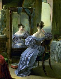 Ferdinand von Lütgendorff - Leinburg, Frau vor dem Spiegel - Frau von Muhr, (Woman in front of a Mirror), (1834)