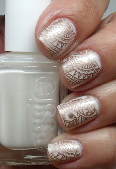 Cheeky XLC plate over Essie Marshmallow. i like the Essie one Get Nails, Fancy Nails, Love Nails, How To Do Nails, Pretty Nails, Hair And Nails, Subtle Nails, Nail Tattoo, Nail Art Designs