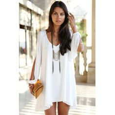 Fashion O Neck Long Sleeves White Chiffon A Line Mini Dress_Dresses_Womens Clothing_Cheap Clothes,Cheap Shoes Online,Wholesale Shoes,Clothing On lovelywholesale.com - LovelyWholesale.com