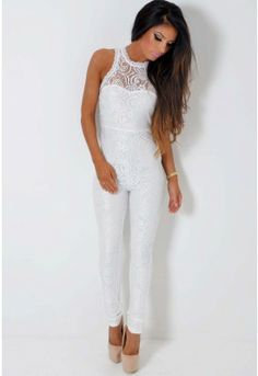 White Tight Fitted Jumpsuit