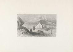 Charles Rochussen | Overstroming te Lith, Charles Rochussen, 1855 | Overstroming in het dorp Lith. Met een roeiboot wordt een aantal personen geëvacueerd. De prent is deel van een serie van 24 prenten over de Watersnoodramp van 1855.