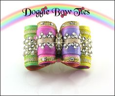 Petite Full Size Rainbow Crystal Show Dog Bow by Doggie Bow Ties!