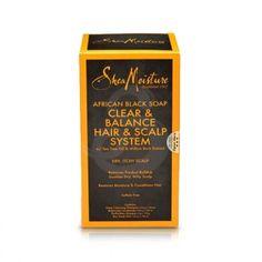 Shea Moisture African Black Soap Clear & Balance Hair & Scalp System KIT, alivia picor y la caspa.