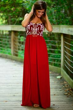 Better To Stay Maxi, Burgundy/White