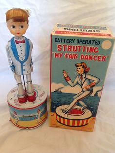 Haji Strutting My Fair Dancer  Battery Operated Tin Toy from 60s  ebay