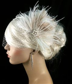 FASCINATOR ONLY  Bridal Feather Fascinator Bridal by IceGreenEyes