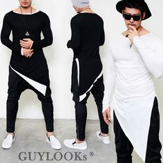 Avant-garde Mod Mens Unbalance Diagonal Cut Triangle Cuff Round Long Tee Guylook | Clothing, Shoes & Accessories, Men's Clothing, T-Shirts | eBay!