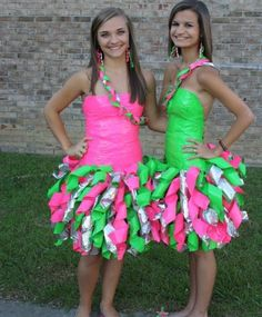 Duct tape dresses in pink and green. How creative for prom or party wear! Love it :)