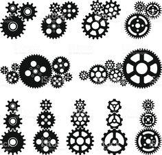 Engrenages en noir et blanc stock vecteur libres de droits libre de droits