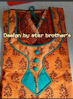 String with clothe latkan, cloth buttons Chudithar Neck Designs, Kurtha Designs, Neck Designs For Suits, Neckline Designs, Blouse Neck Designs, Sleeve Designs, Dress Designs, Salwar Suit Neck Designs, Kurta Neck Design