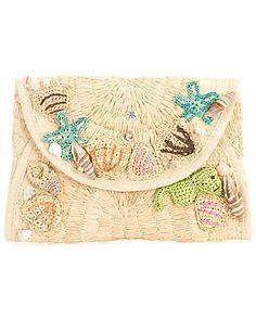Flora Bella Woven Raffia Crochet Clutch