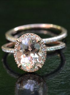 14k Rose Gold 9x7mm Morganite Oval Engagement Ring and Diamond Wedding Band Set  $1350!! http://www.etsy.com/listing/152227747/14k-rose-gold-9x7mm-morganite-oval?ref=cat_gallery_9